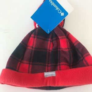 Columbia Hat and Mittens Kids Black Red